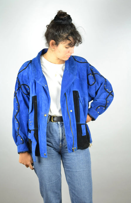 80s Retro Blue Women's Suede Jacket Vintage Medium M
