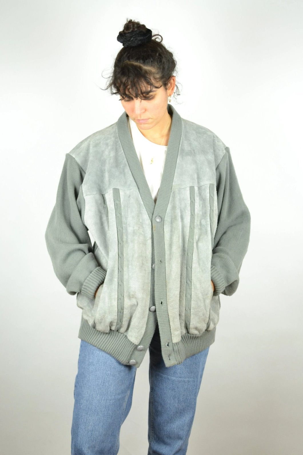 Suede Wool Bomber Jacket Vintage 80s Grey Large L XL