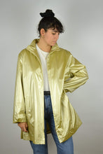 Load image into Gallery viewer, Long Gold Parka Jacket Vintage 80s Disco Large L