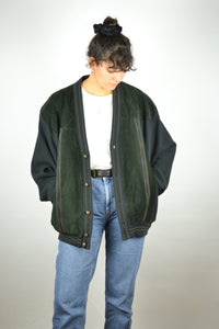 Black Wool Suede Jacket Vintage 80s  Large L