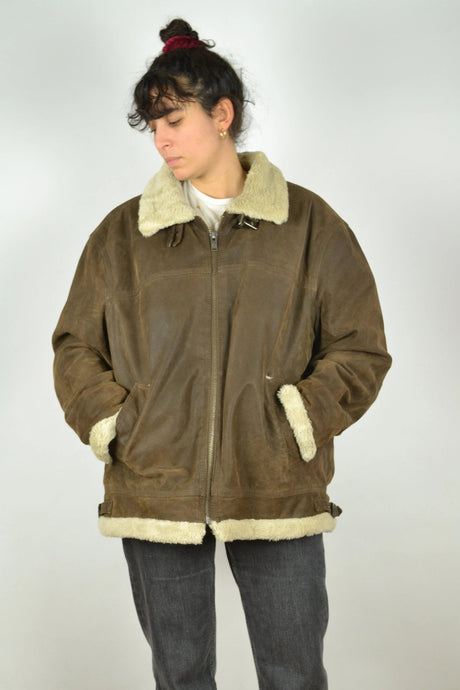Aviator Shearling Jacket  Vintage 90s Oversized XL