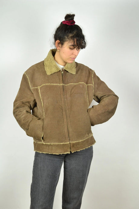 Aviator Shearling Leather Jacket Vintage 70s Brown Medium M