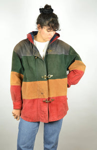 Long Colored Leather Jacket Vintage 90s Medium M