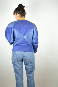 80s Retro Blue Suede Biker Jacket Vintage Small S