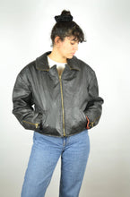 Load image into Gallery viewer, Black Leather Bomber Jacket Vintage 80s Medium M