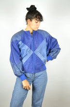 Load image into Gallery viewer, 80s Retro Blue Suede Biker Jacket Vintage Small S