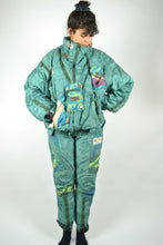 Load image into Gallery viewer, 80s Ski Suit Winter Combi One piece Vintage Green Medium M