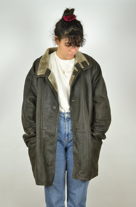 Black Brown Sheepskin Jacket Vintage 80s 90s Large XL