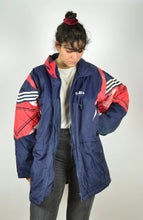 Load image into Gallery viewer, Adidas Long Jacket Vintage 90s Blue Red Large L