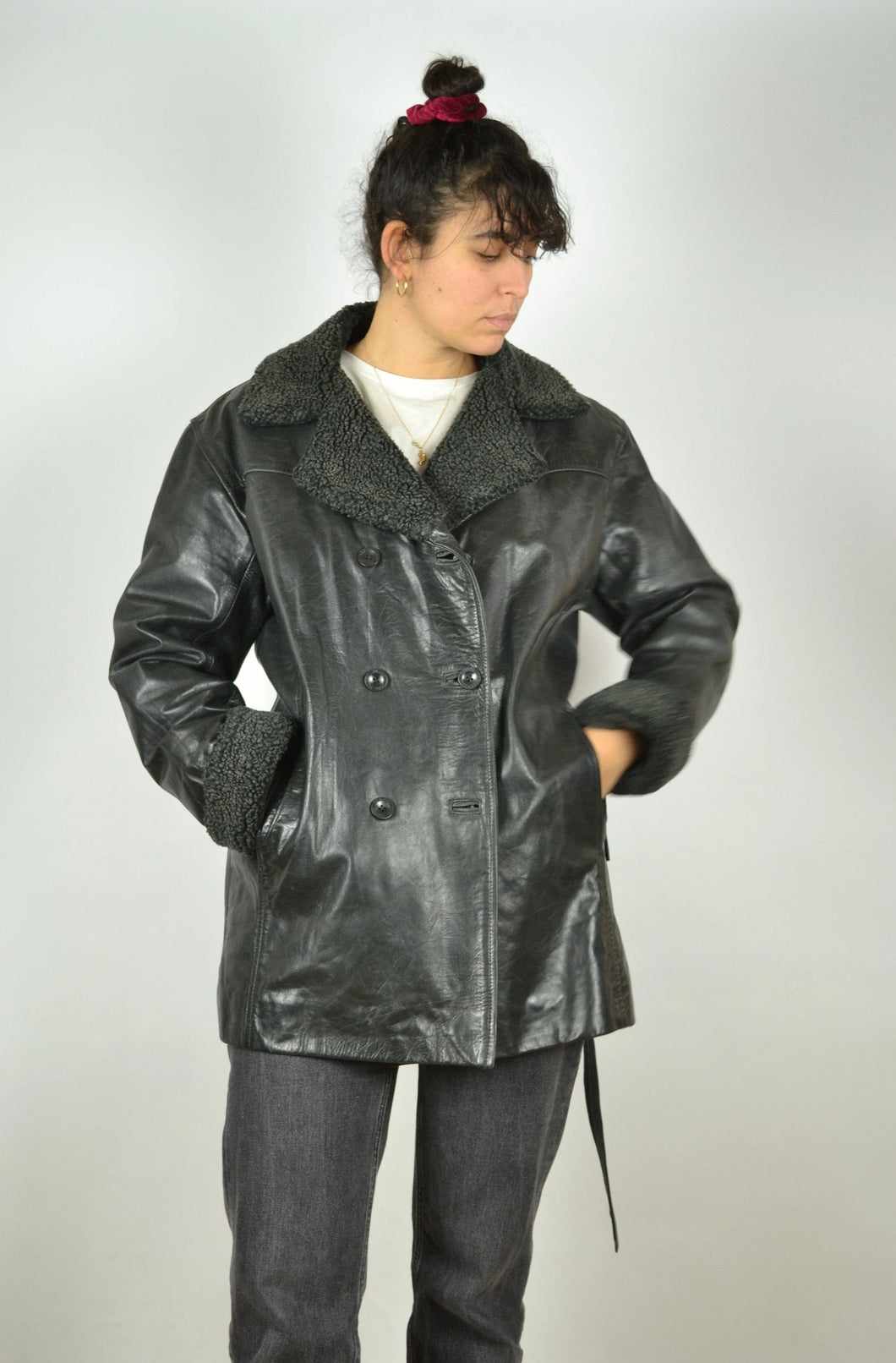 Long Black Leather Trench Jacket Vintage 90s Medium M L