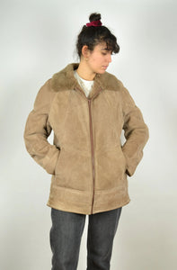 Sheepskin Jacket Faux Fur Padding Vintage Winter Coat