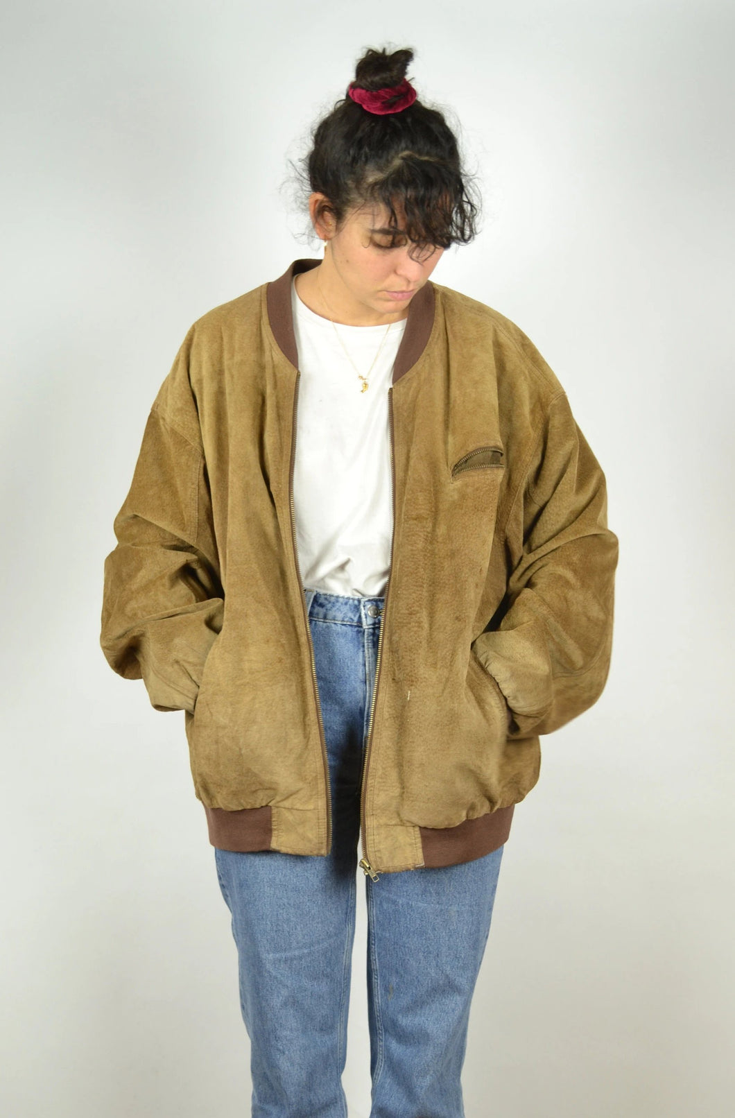 Brown Leather Suede Bomber Jacket Vintage 80s Oversized XL
