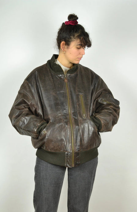 ARMANI JEANS Brown Leather Jacket Vintage 80s L