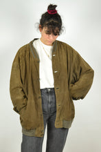 Load image into Gallery viewer, Brown Suede Bomber Jacket Vintage 80s Oversized Large XL