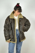 Load image into Gallery viewer, Aviator Shearling Jacket  Vintage 90s Oversized XL