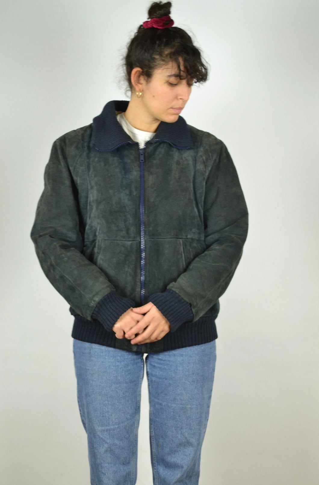 Faux Shearling Padded Suede Jacket 80s Medium M S