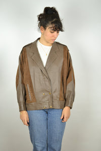 Brown Women's Leather Jacket Vintage 80s Large L