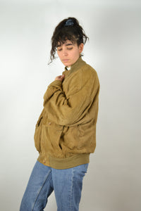 Brown Leather Suede Bomber Jacket Vintage 80s Medium M