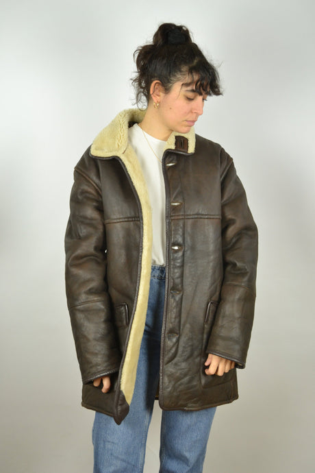 Brown Sheepskin Jacket Vintage 70s 80s Large L