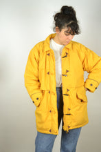 Load image into Gallery viewer, Long Yellow Parka Jacket Vintage 80s 90s  Neon Medium M