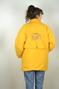 Long Yellow Parka Jacket Vintage 80s 90s  Neon Medium M