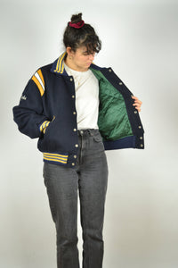 80s American football Teddy Bomber Jacket Medium M