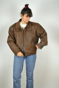 Brown Biker Bomber Jacket Vintage 80s 90s Large L