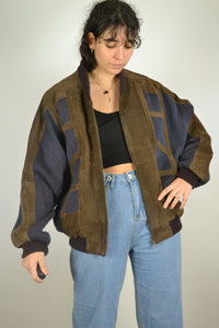 Aztec Suede Bomber Jacket Geometric Patterns Vintage 80s Leather Rustic Hippie Boho Coat Nubuck Blazer Retro Blue Brown Large L