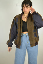 Load image into Gallery viewer, Aztec Suede Bomber Jacket Geometric Patterns Vintage 80s Leather Rustic Hippie Boho Coat Nubuck Blazer Retro Blue Brown Large L