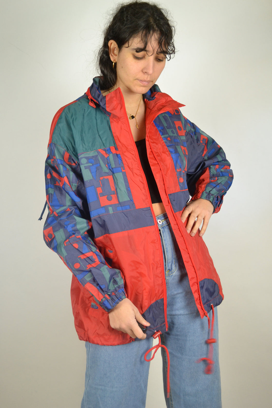 90s Neon Windbreaker Vintage 80s Retro Orange Red Anorak jacket Sport Tracksuit Oldschool Zipped Rain Jacket Men Women L