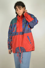 Load image into Gallery viewer, 90s Neon Windbreaker Vintage 80s Retro Orange Red Anorak jacket Sport Tracksuit Oldschool Zipped Rain Jacket Men Women L