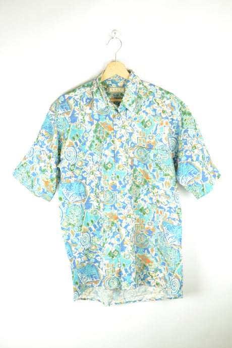 Vintage 80s - Abstract Turquoise Patterns Shirt - Size M - Printed shirt Crazy Patterned blouse Beach Blouse Festival Summer Surfer Shirt