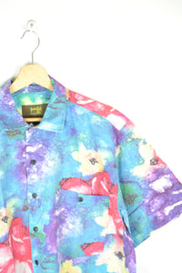 Vintage 80s - Tropical Flowers Painting Shirt - Size M - 80s Hawaiian Shirt Blue Tropical Print Shirt Sunset Retro Shirt Tahiti Sumer Beach