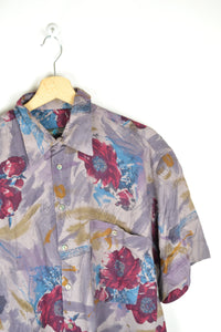 Vintage 80s - Abstract Patterns Men Shirt - Size M - Floral Flowers Printed shirt Purple Crazy Painting  Retro Festival Summer Shirt