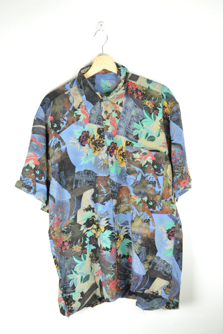 Vintage 80s - Abstract Patterns Men Shirt - Size M - Rainbow Floral Flowers Printed shirt Purple Crazy Painting Retro Festival Summer Shirt
