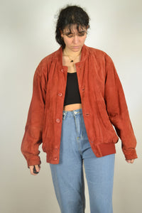 Vintage 80s/90s - Red Suede Jacket - Size M/L - Red Suede Jacket Bomber Leather Rustic Hippie Boho Coat Nubuck Blazer Retro