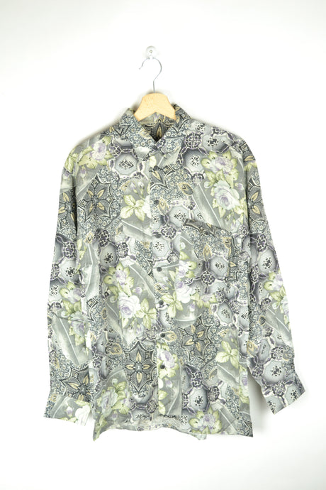 Vintage 80s - Long Sleeves Baroque Patterned Shirt - Size M - Printed shirt Flowers Patterns Colorful blouse Retro 80s Blouse Summer