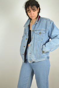 Vintage 90S -  Lined Denim Jacket - Size L - Shearling Jean Denim Jacket Blue Coat Padding Sherpa Trucker Winter Warm Thick