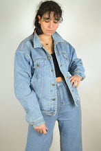 Load image into Gallery viewer, Vintage 90S -  Lined Denim Jacket - Size L - Shearling Jean Denim Jacket Blue Coat Padding Sherpa Trucker Winter Warm Thick
