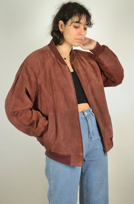 Vintage 80s/90s - Burgundy Red Suede Jacket - Size M/L - Brown/Red Suede Jacket Bomber Leather Rustic Hippie Boho Coat Nubuck Blazer Retro