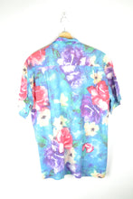 Load image into Gallery viewer, Vintage 80s - Tropical Flowers Painting Shirt - Size M - 80s Hawaiian Shirt Blue Tropical Print Shirt Sunset Retro Shirt Tahiti Sumer Beach
