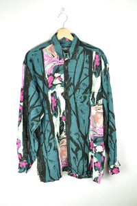 Vintage 80s/90s - Long Sleeves Abstract Patterns Women Blouse - Size M - Floral Printed shirt Painting Paint Blue Green blouse Retro Summer