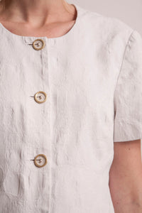 White Blouse Gold Buttons Vintage Medium M