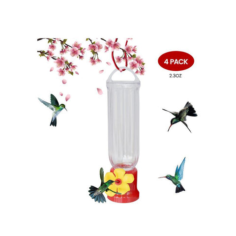 EJWOX Hummingbird Feeder with Hanging Wires-Easy Cleanup/Leakage Prevent for Outdoors(4 Pack,2.3 oz) - EJWOX Products Inc