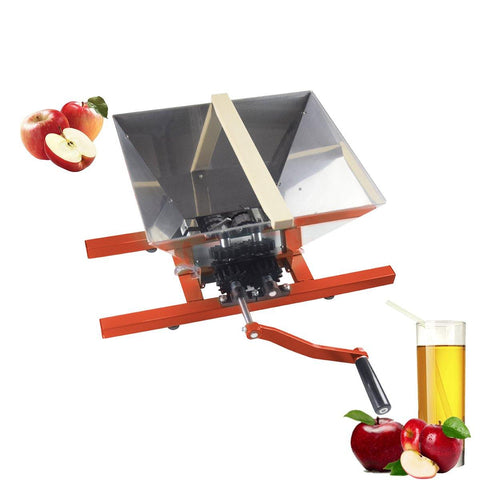 Fruit Apple Wine Classic Crusher -7 Litre/1.8Gallon Manual Grinder, Creative Design, Easy Assembly, Fast Creation of Juice, Red - EJWOX Products Inc