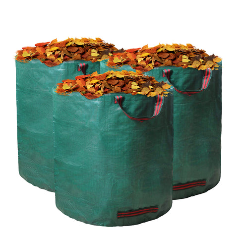 3 Pack Reuseable Garden Waste Bags - Large Leaf Bag Holder/ Heavy Duty Lawn Pool Yard Waste Bags/ Waterproof Debris Bag … - EJWOX Products Inc