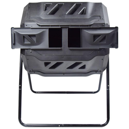 ejwox 43 Gallon Dual-Chamber Compost Tumbler (Black Doors)