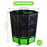 XXL Large Compost Bin Outdoor- 190G/143G-Easy Assembly-No Screws-BPA Free-Sturdy& Durable-Green Door -Christmas SALES!  EJWOX Products Inc