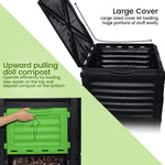 EJWOX Large Garden Compost bin -80 Gallon(300 L)-Recycled Plastic, Easy Assembling,  Black/Green Door -Christmas SALES!  EJWOX Products Inc