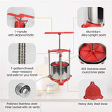 Fruit Wine Press Aluminum - 1.6 Gallon,Red - EJWOX Products Inc